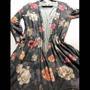 LuLaRoe Floral/ Roses Medium Sarah Cardigan